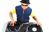 image of disc jockey  - Portrait of modern deejay spinning turntables in isolation - JPG