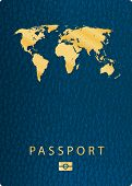 pic of passport cover  - vector blue biometric leather cover passport - JPG