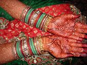 image of dulhan  - showcasing hands of an Indian Bride on her wedding day  - JPG