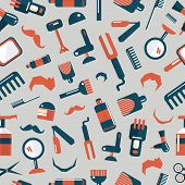 Постер, плакат: Barber shop seamless pattern