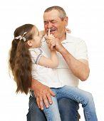 image of grandfather  - Grandfather and grandchildren portrait studio shoot - JPG