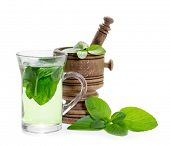 stock photo of mints  - Mint tea with fresh mint leaves isolated on white background - JPG