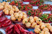 foto of chillies  - Various Chilli Peppers in Rio de Janeiro street market - JPG