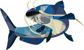 picture of fin  - Low polygon style illustration of a ray - JPG