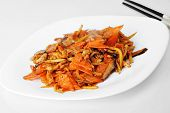 stock photo of chinese parsley  - tasty steamed vegetables with meat - JPG