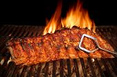 pic of grill  - BBQ Roast Marinated Baby Back Pork Ribs Close - JPG