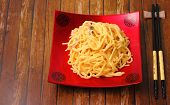 foto of carbonara  - spaghetti carbonara served on a wooden table top - JPG