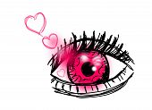 foto of pink eyes  - Pink eye with pink hearts on white background - JPG