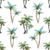 pic of palm  - Beautiful vector pattern with nice watercolor palm trees - JPG