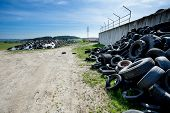 image of truck farm  - Pile of old tires in farm agro company Czech Republic - JPG