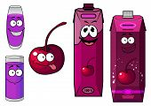 picture of fruit-juice  - Cheerful cherry juice and fruit cartoon characters including smiling juice packs with screw caps - JPG