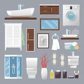foto of bathroom sink  - Bathroom furniture flat icons set with sink toilet bowl towels isolated vector illustration - JPG