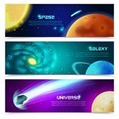 picture of comet  - Cosmos space galaxy astronomical educational three horizontal banners set with sun and comets abstract isolated vector illustration - JPG