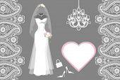 foto of bridal veil  - The composition of females wedding long dress - JPG