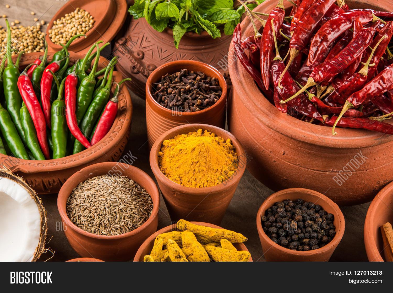 indian spices terracotta pots image photo bigstock. Black Bedroom Furniture Sets. Home Design Ideas