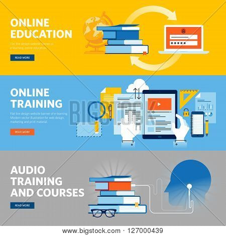 Set of flat line design web banners for online education, online training and courses. Vector illustration concepts for web design, marketing, and graphic design.