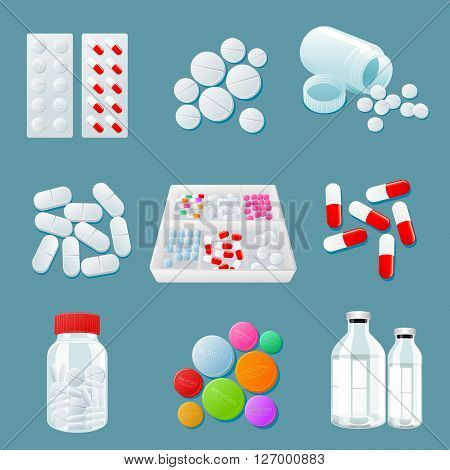 medicaments of various types, set of medical pill, vector Medicine isolated on a colored background, colorful products. Bottles and boxes with colored vitamins. Things to human health.
