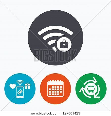 Wifi locked sign. Password Wi-fi symbol. Wireless Network icon. Wifi zone. Mobile payments, calendar and wifi icons. Bus shuttle.