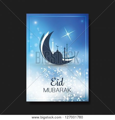 Eid Mubarak - Moon in the Sky - Greeting Card, Flyer or Cover Design for Muslim Community Festival