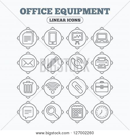 Linear icons with direction arrows. Office equipment icons. Computer, printer and smartphone. Wi-fi, chat speech bubble and copy documents. Presentation board, paperclip with pencil and magnifying glass. Circle buttons.