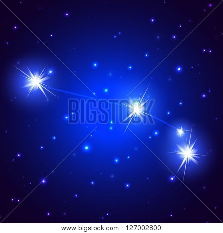Sidereal constellation of Aries, vector art illustration of a starry sky.