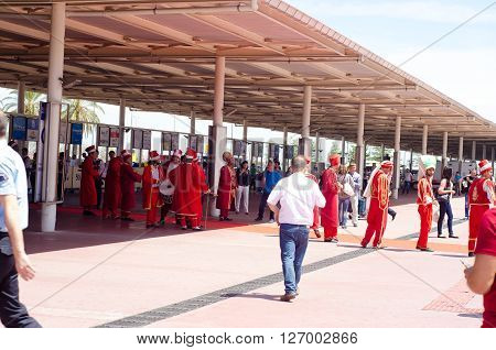 Antalya, Turkey - April 23, 2016  Expo 2016 tourists  in  Antalya International airport. Expo  takes place  April 23 - October 30,2016 with expected 8 million visitors
