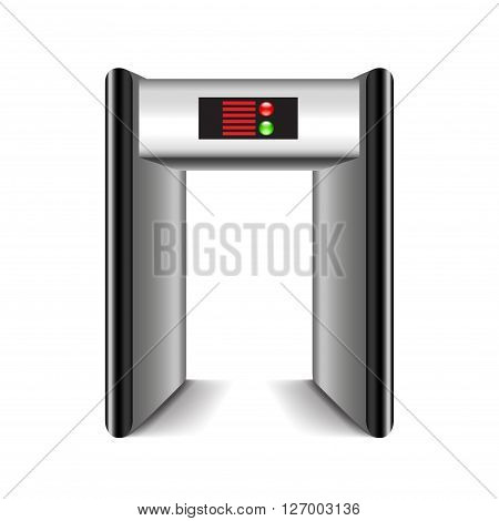 Door frame metal detector isolated on white photo-realistic vector illustration