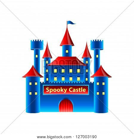 Horror castle in amusement park isolated vector illustration
