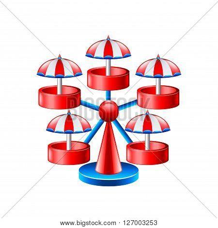 Mini wheel carousel isolated on white vector illustration