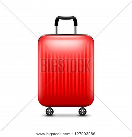 Red luggage isolated on white photo-realistic vector illustration