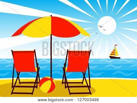 vector deck chairs under umbrella on the beach