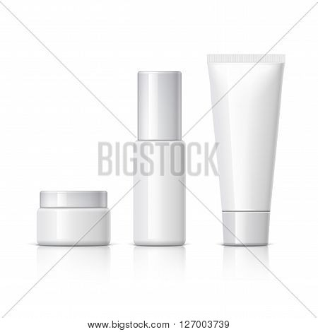 set of cosmetic products on a white background. Cosmetic package collection for cream soups foams shampoo. Object shadow and reflection on separate layers. vector illustration.