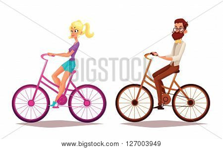 Hipster girl and boy riding bicycles, illustration cartoon vacation on bicycles, man with a beard and his girlfriend engaged in sport bikes, isolated people, blond girl, brunette boy