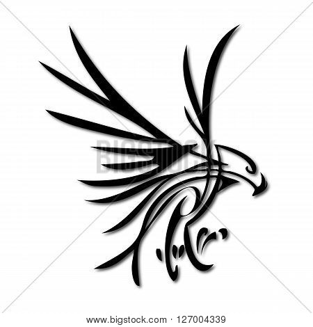 an abstract silhouette of a flying eagle