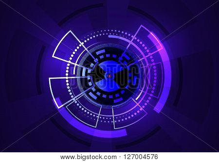 Techno vector circle abstract background blue Abstract technology background