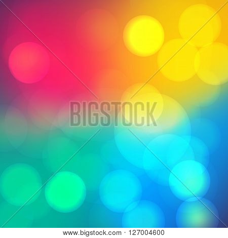 Bokeh soft blurry background with light. Dreamy party mood effect. Vector
