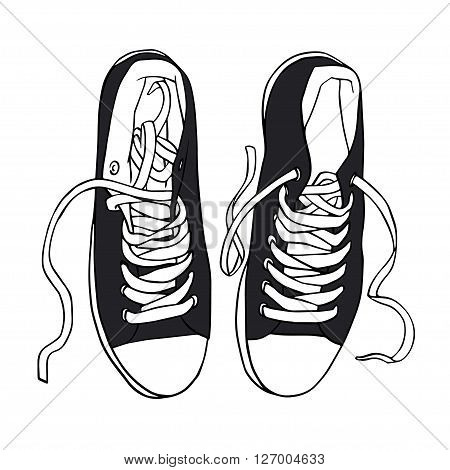 Vector illustration black sports sneakers with white laces gumshoes isolated on white background, hand drawn, top view