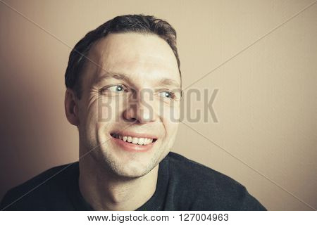 Young Handsome Positive Caucasian Man, Old Style