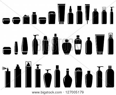 black glossy cosmetic bottle set on white background