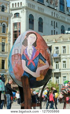 KYIV UKRAINE - April 23 2016. VI Ukrainian festival of Easter eggs. 374 Easter eggs in one and a half meters in height painted by masters-painters from all Ukrainian regions