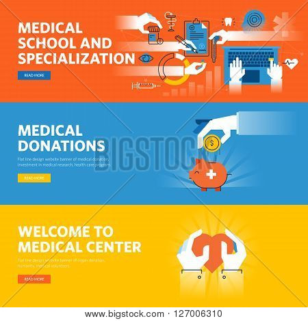 Set of flat line design web banners for online medical education, medical donations, medical center information and facilities. Vector illustration concepts for web design, marketing, and graphic design.