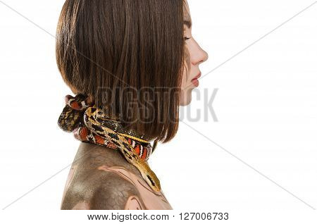 Girl with bodyart make-up and with snakes in the image of Gorgon medusa. Isolated on white background