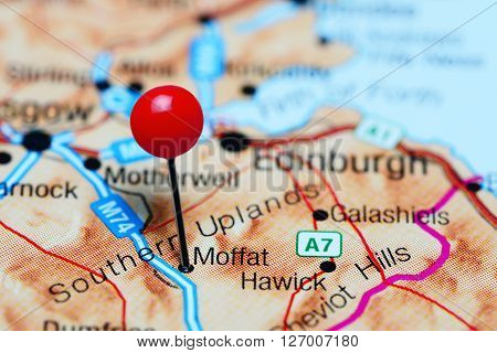 Moffat pinned on a map of Scotland