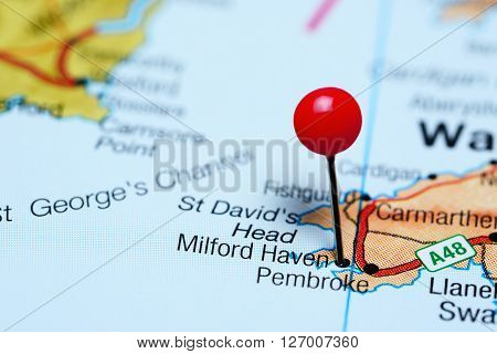 Milford Haven pinned on a map of Wales