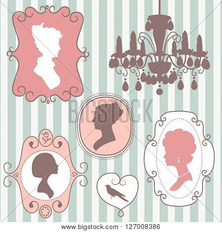 Cute vintage frames with ladies silhouettes, mothers day card