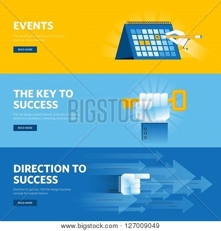 Set of flat line design web banners for busisness success, strategy, organization, news and events. Vector illustration concepts for web design, marketing, and graphic design.