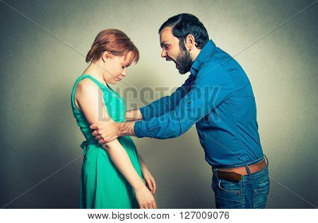 man shouting on the woman. violence concept