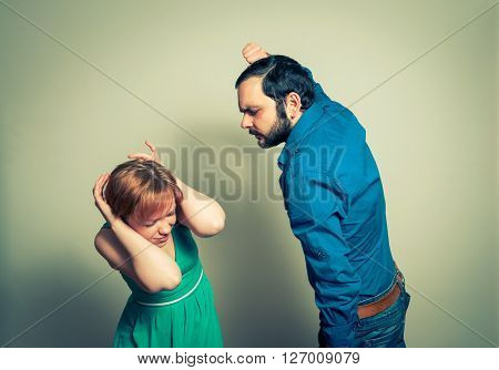 man beating the  woman. the violence concept