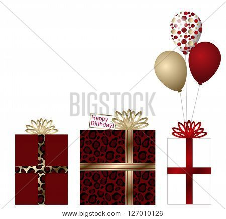 White, gold and red animal print birthday scene- three gifts, one with red animal print and gold ribbon, one red tied with animal print ribbon, the final one is white and has 3 balloons tied to it. The balloons are, gold, red and white with dots.  White b