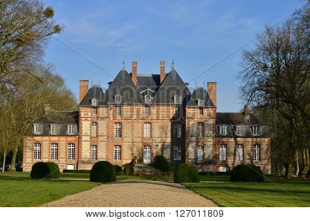 Fleury la Foret France - march 15 2016 : the castle of Fleury la Foret of 17 th century